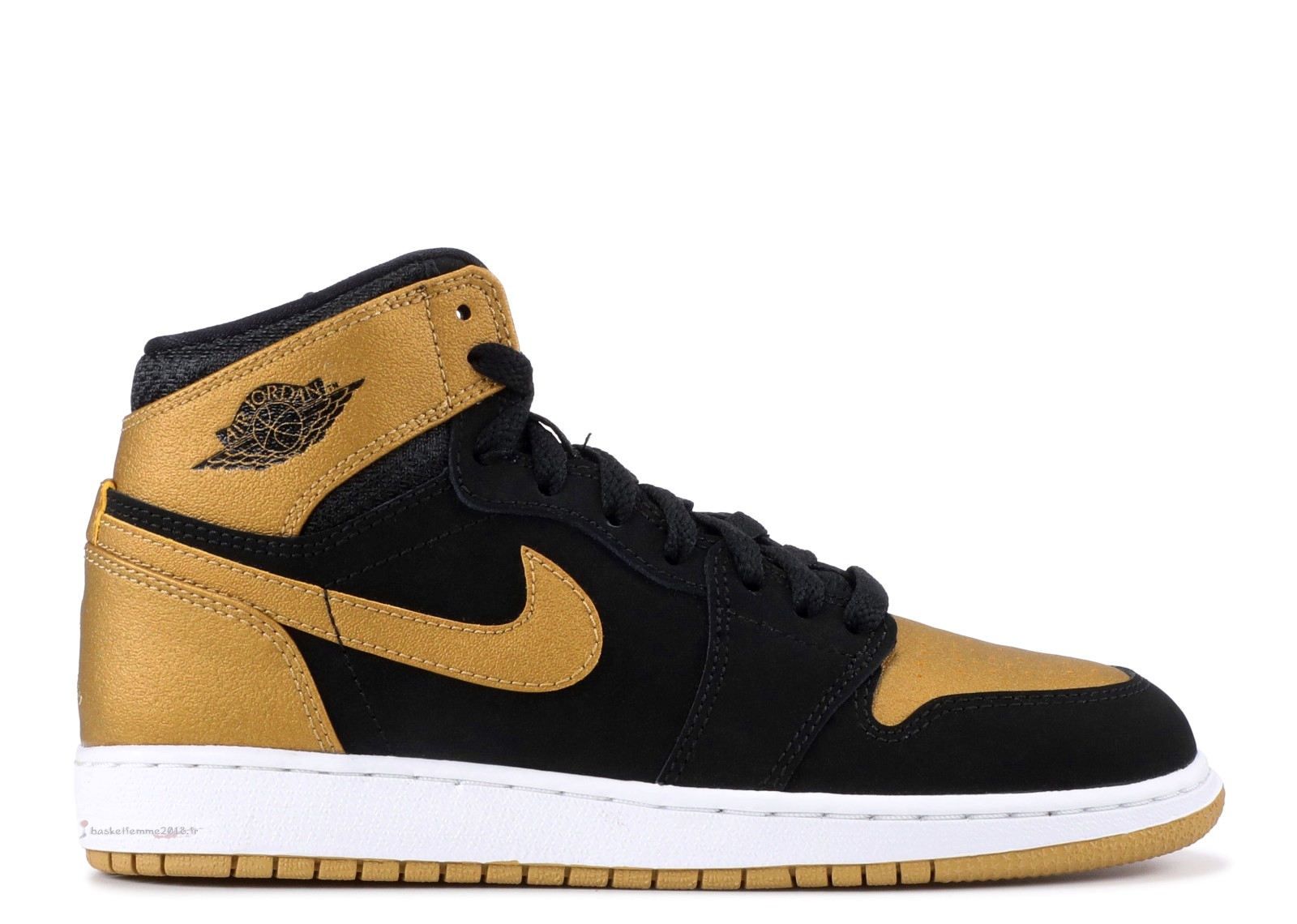 "Air Jordan 1 Retro High Bg (Gs) ""Melo (Pe Series)"" Noir Or (705300-026) Chaussure de Basket"