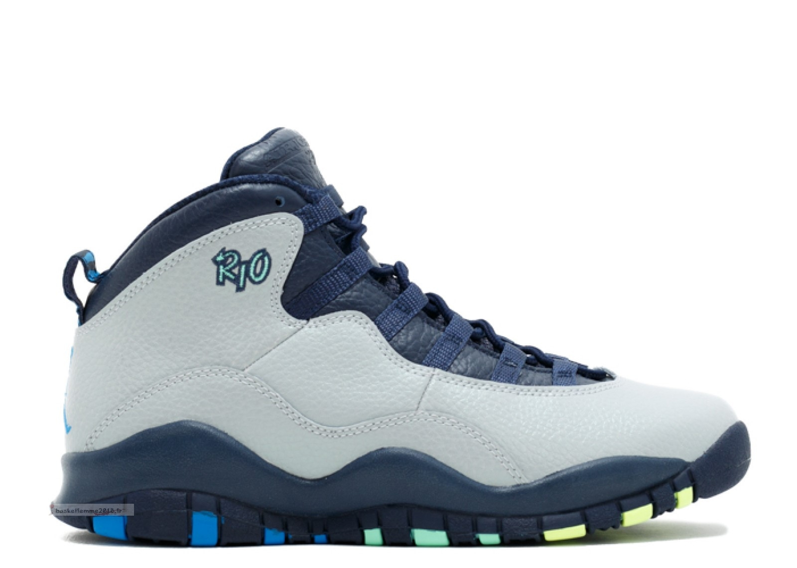 "Air Jordan 10 Retro Bg (Gs) ""Rio"" Gris (310806-019) Chaussure de Basket"
