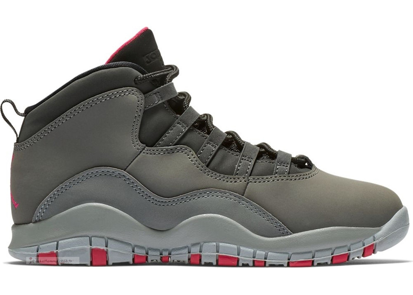 Air Jordan 10 Retro Rush Pink (Ps) Gris (487212-006) Chaussure de Basket