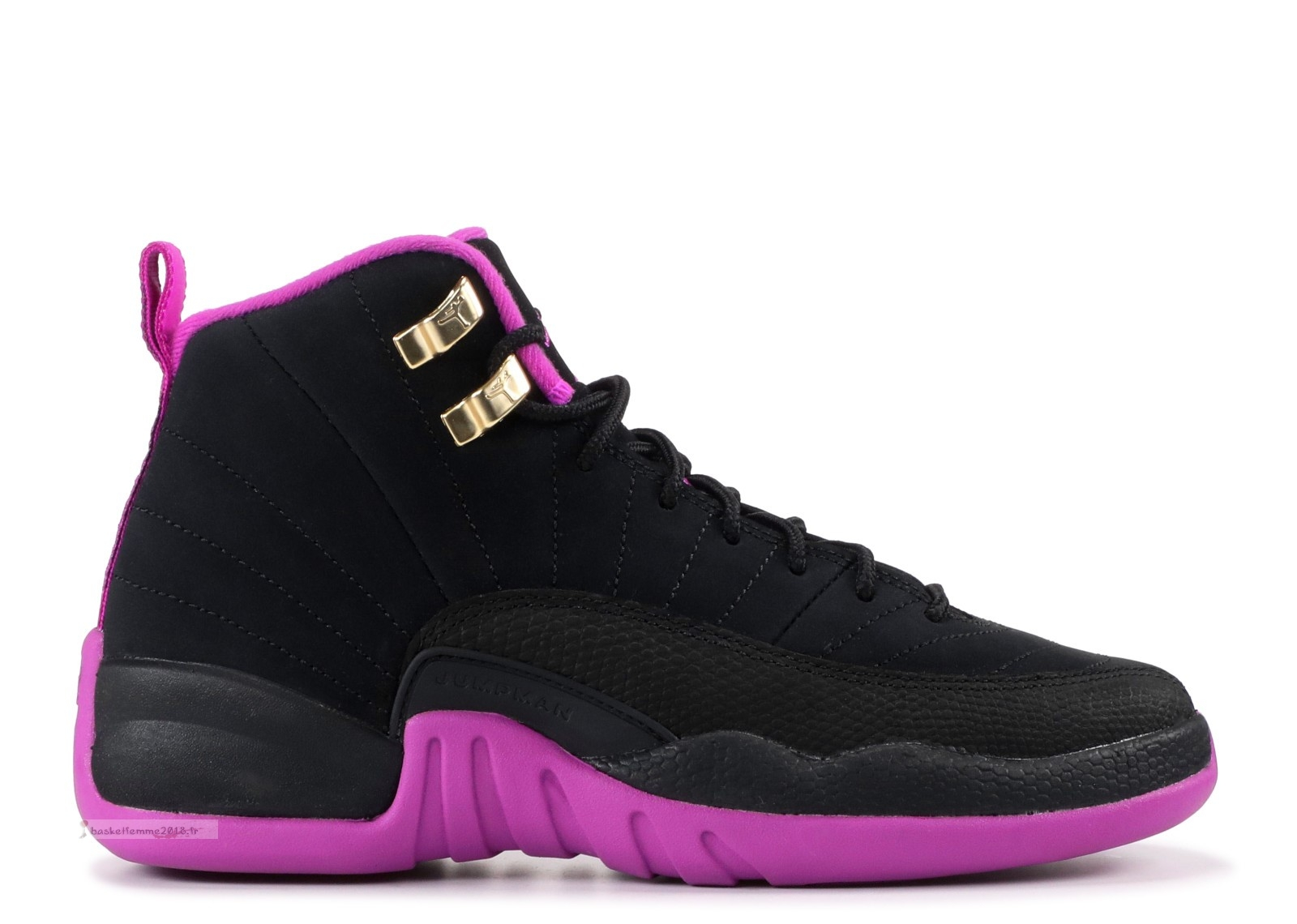 "Air Jordan 12 Retro Gg (Gs) ""Kings"" Noir Rose (510815-018) Chaussure de Basket"