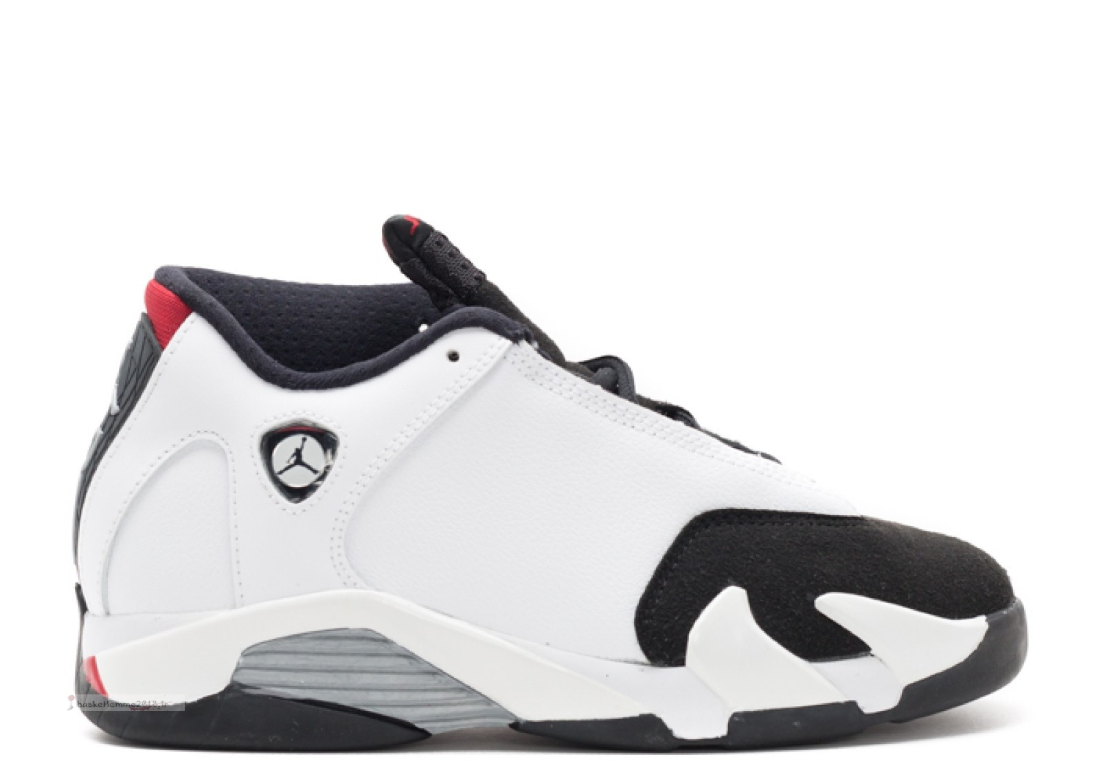 "Air Jordan 14 Retro Bp ""Black Toe"" Blanc Gris Noir (654972-102) Chaussure de Basket"