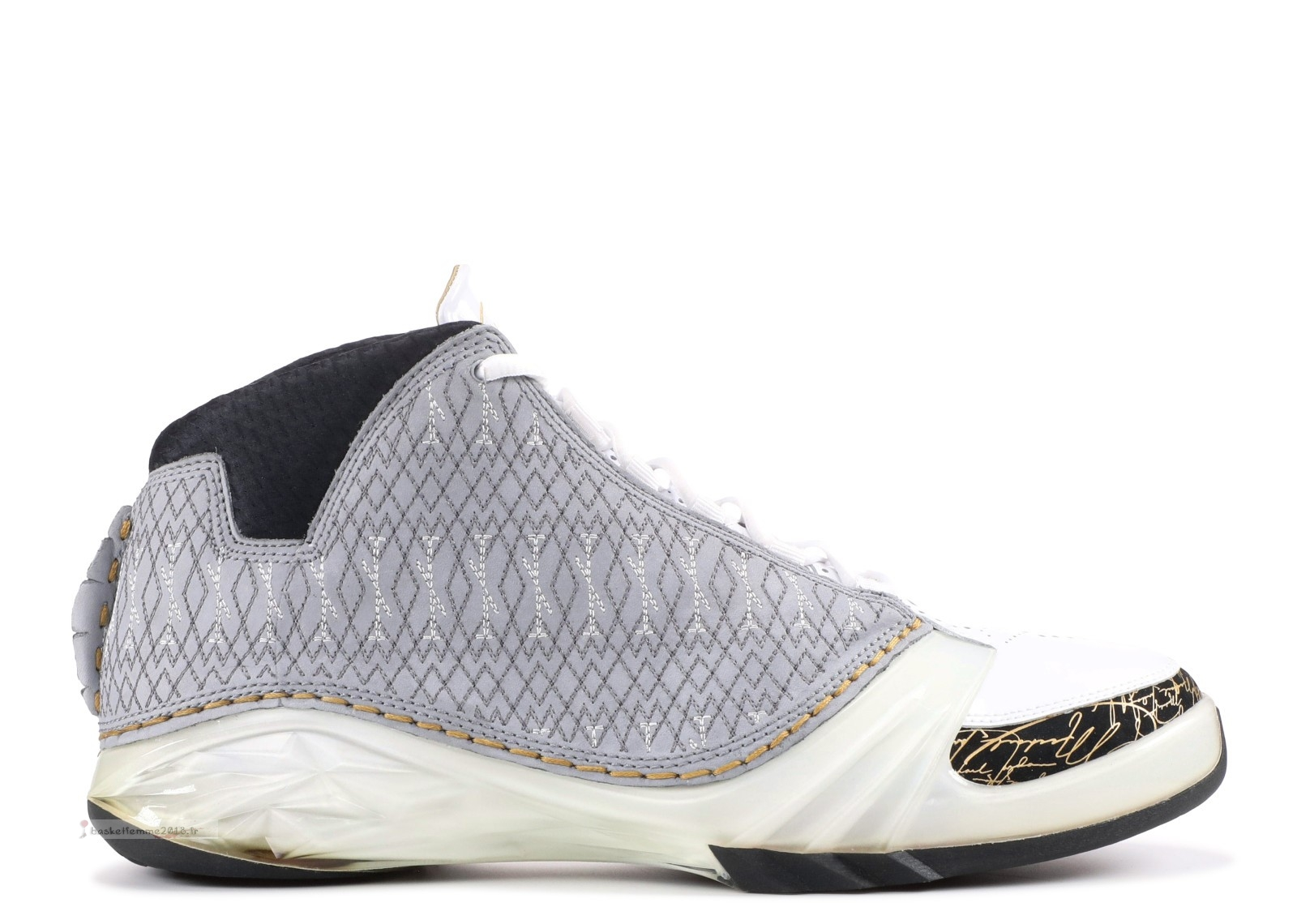 Air Jordan 23 Blanc Noir Or (318376-102) Chaussure de Basket