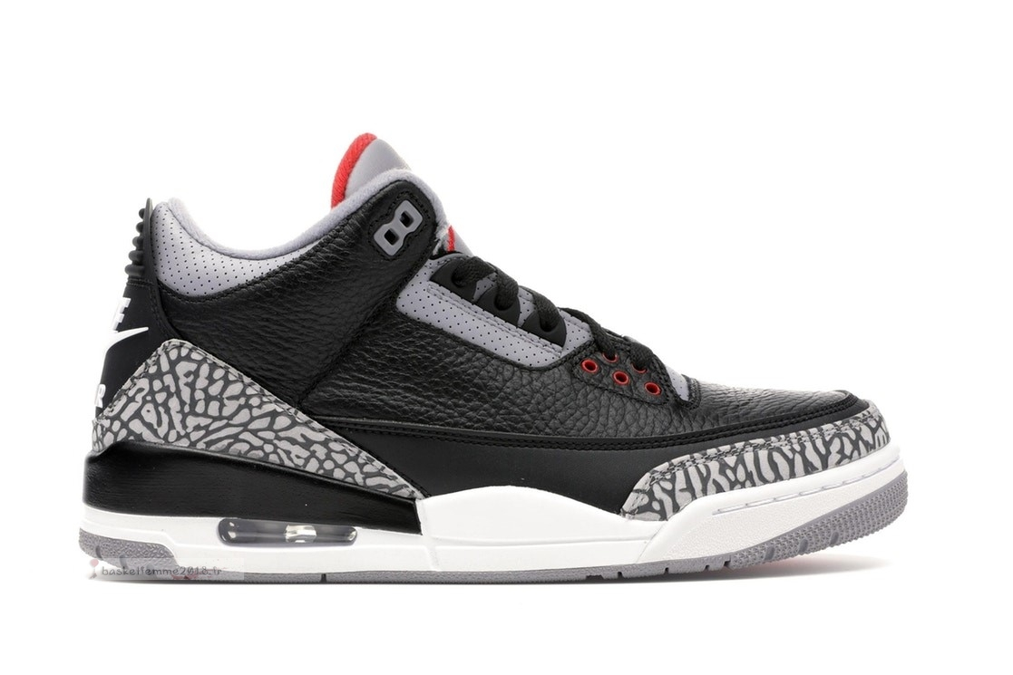 "Air Jordan 3 ""Black Cement"" Og 2018 Noir Rouge Gris (854262-001) Chaussure de Basket"