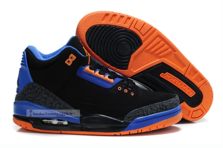 Air Jordan 3 Black Orange Blue Chaussure de Basket