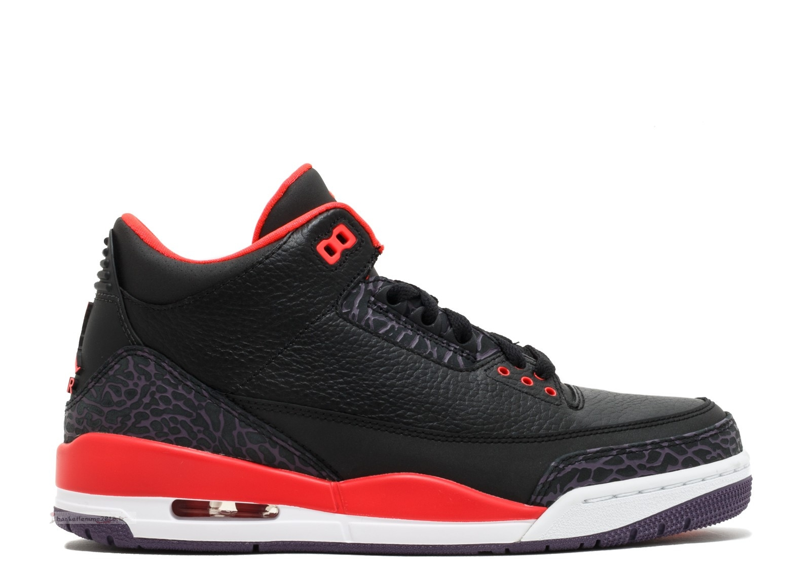 "Air Jordan 3 Retro ""Crimson"" Noir Rouge (136064-005) Chaussure de Basket"