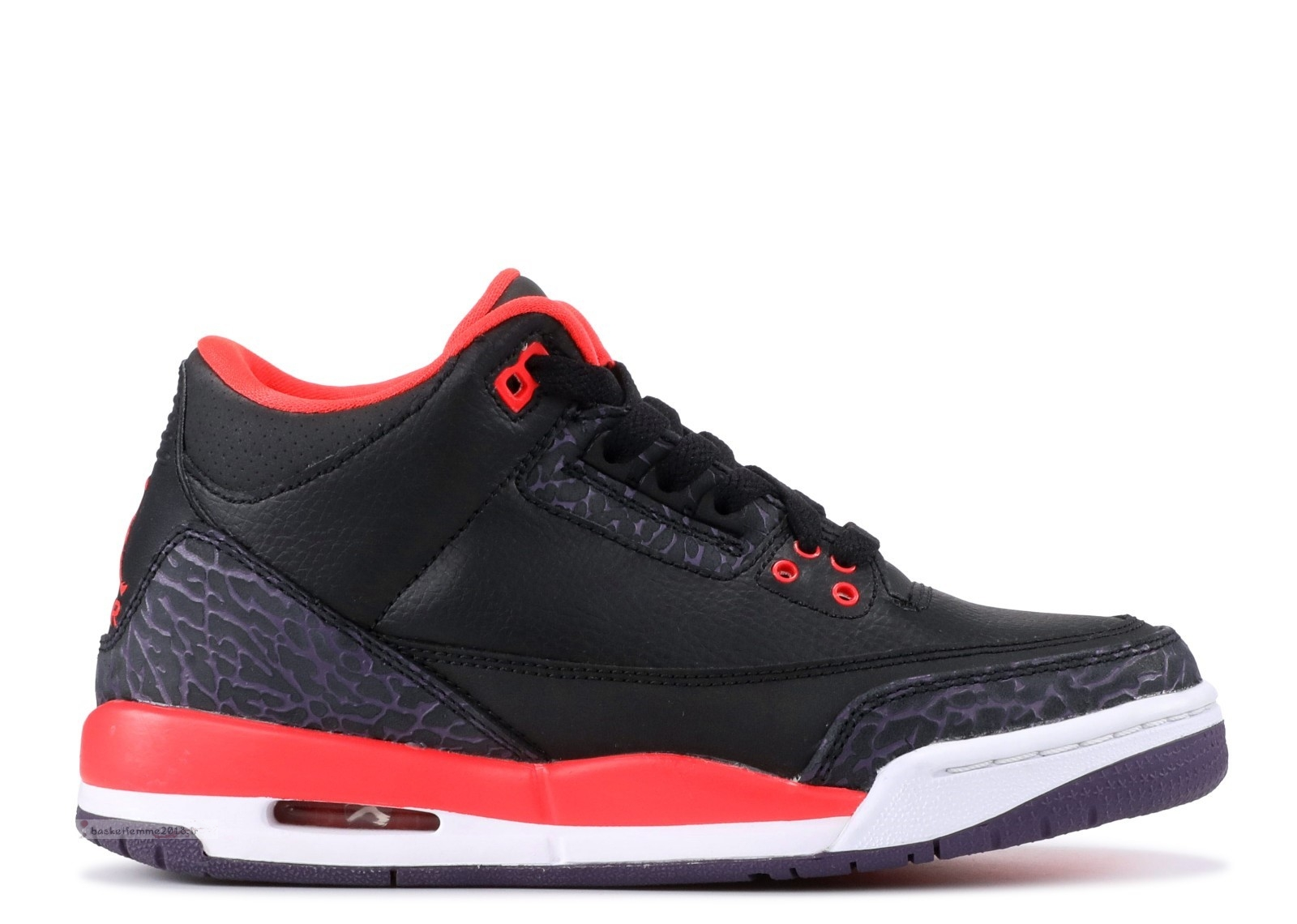 "Air Jordan 3 Retro (Gs) ""Crimson"" Noir Rouge (398614-005) Chaussure de Basket"