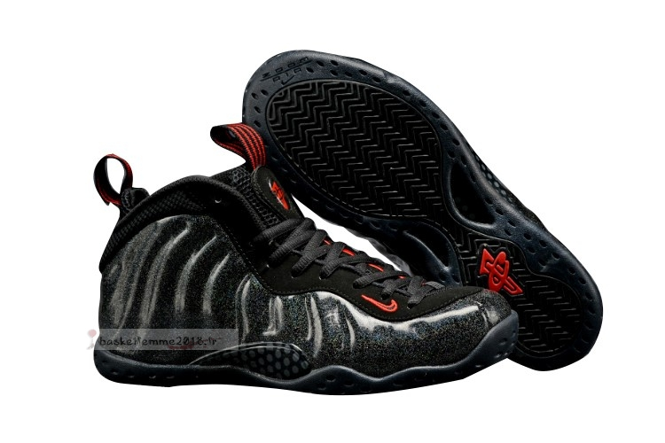Nike Air Foamposite One Femme Noir Or Rouge Chaussure de Basket