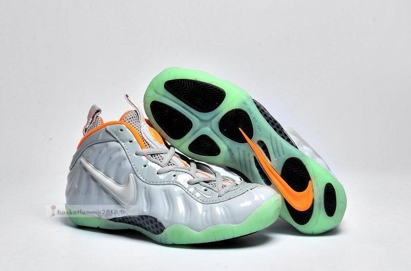 Nike Air Foamposite Pro Femme Gris Menthe Orange Chaussure de Basket