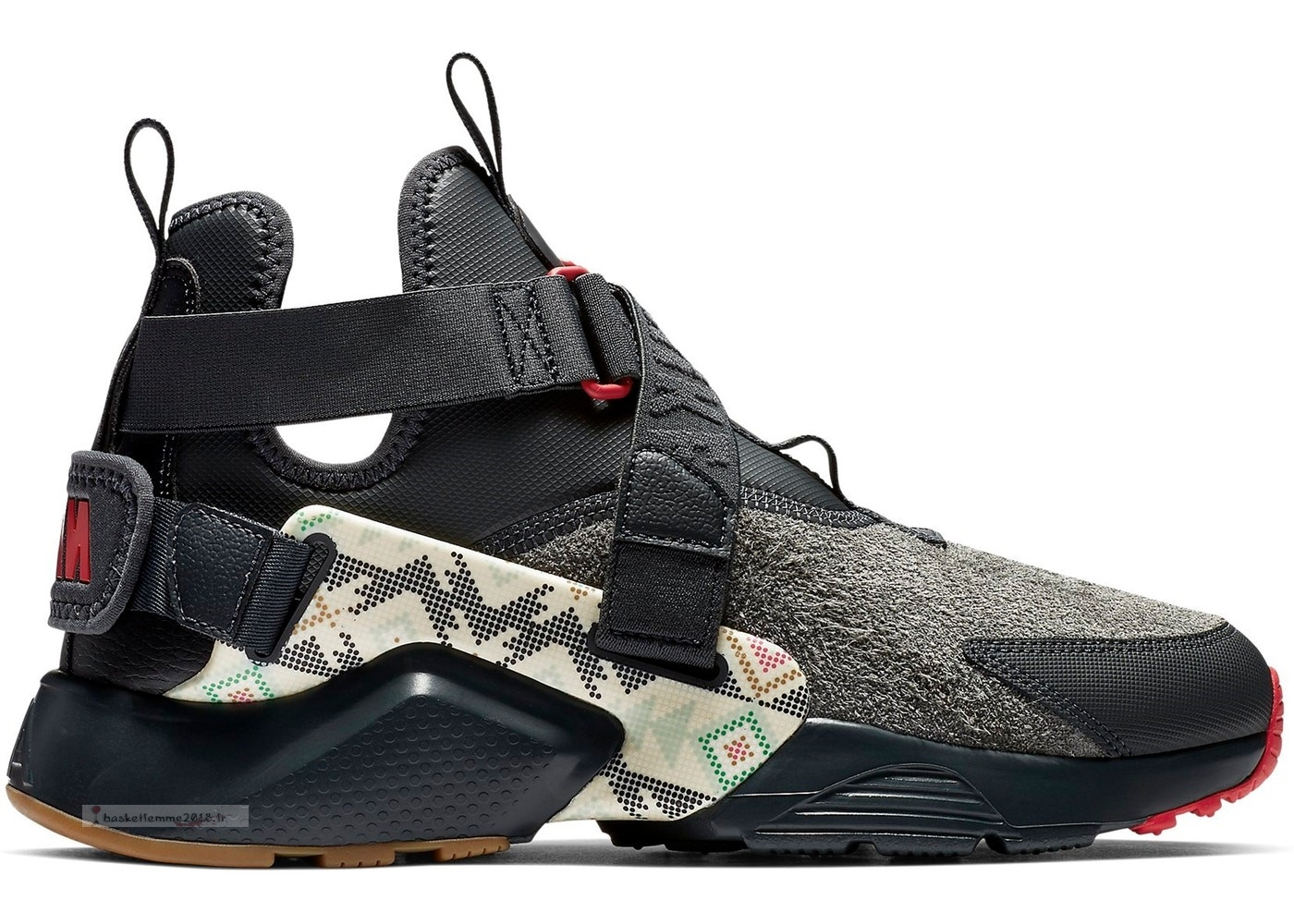 "Nike Air Huarache Run Femme City Utility ""N7"" Noir Rouge (at6170-001) Chaussure de Basket"