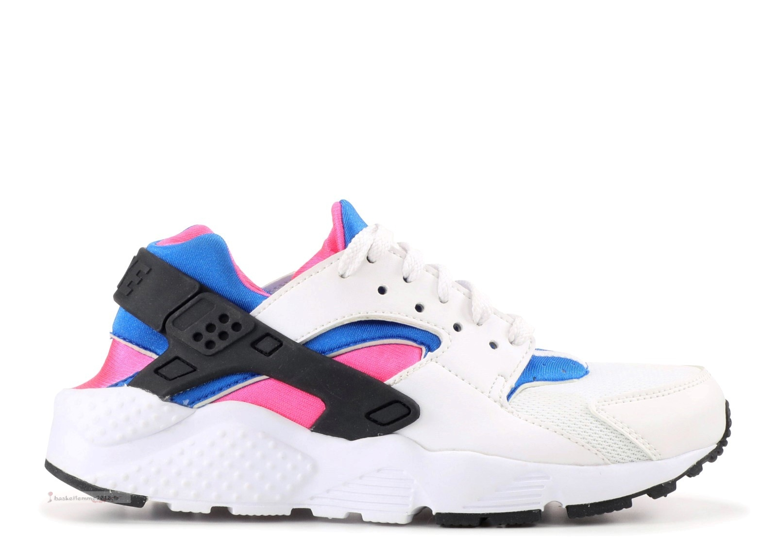 Nike Air Huarache Run (Gs) Blanc Noir Rose (654275-104) Chaussure de Basket