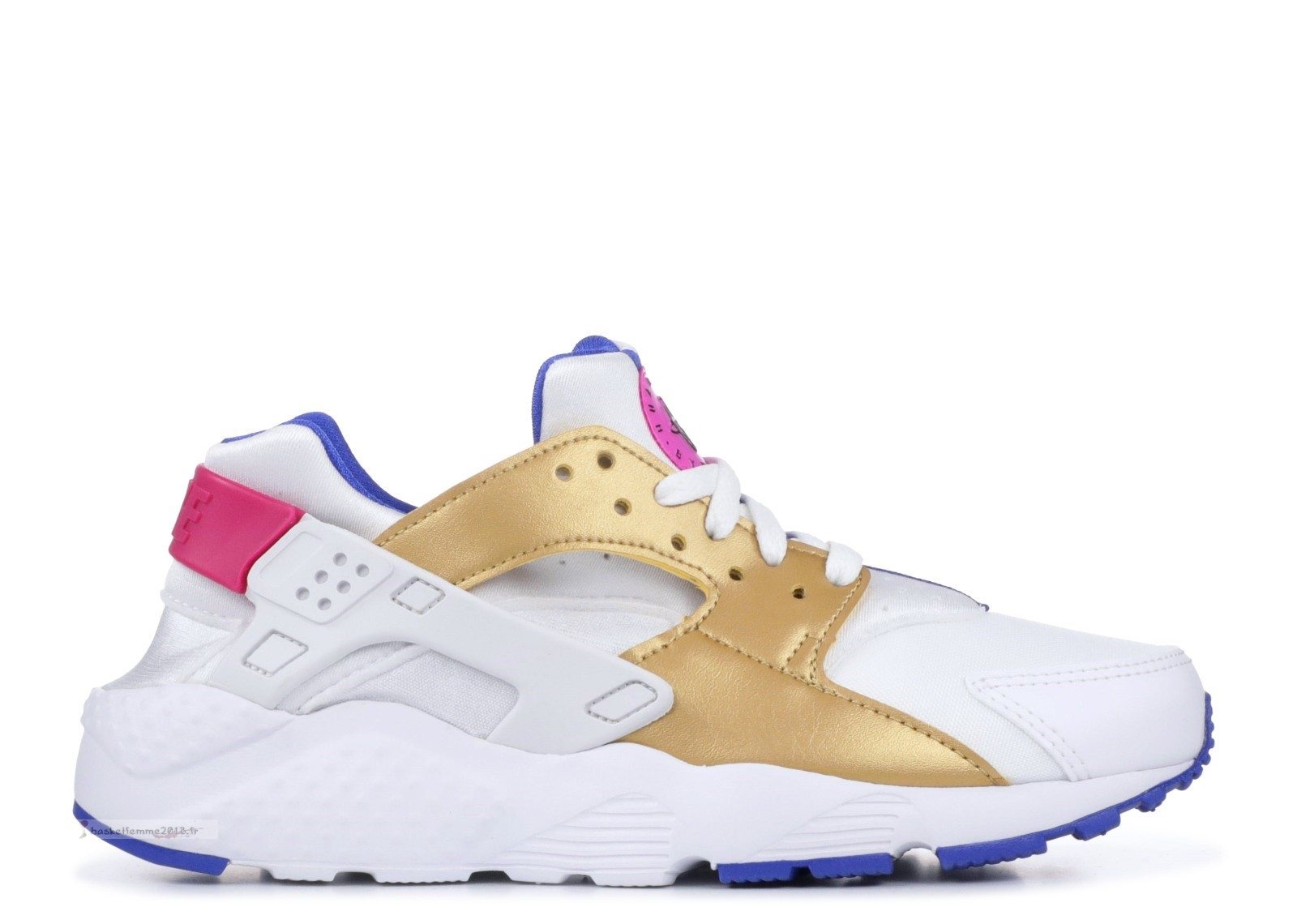 Nike Air Huarache Run (Gs) Blanc Or (654280-109) Chaussure de Basket