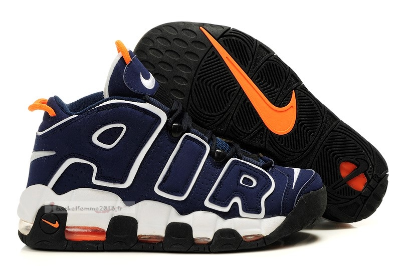 Nike Air More Uptempo Femme Marine Blanc Orange Chaussure de Basket