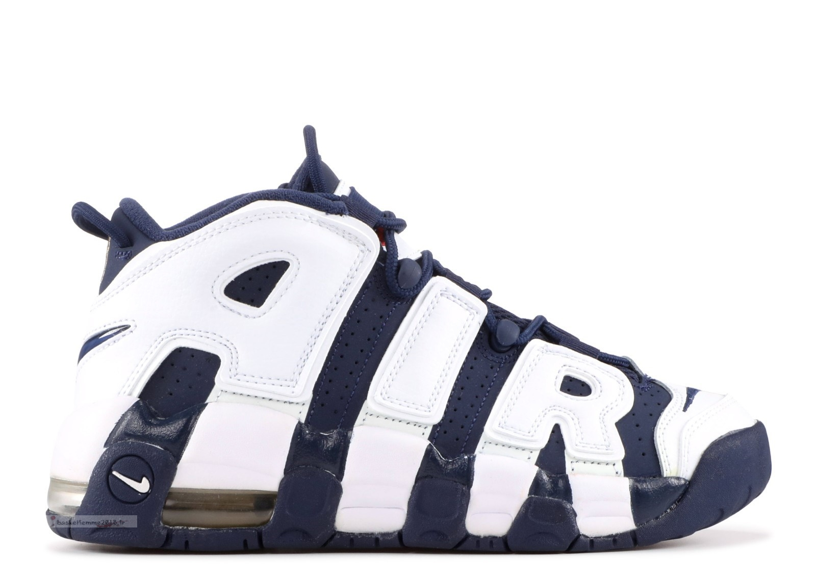 "Nike Air More Uptempo (Gs) ""Olympic"" Blanc Marine (415082-104) Chaussure de Basket"