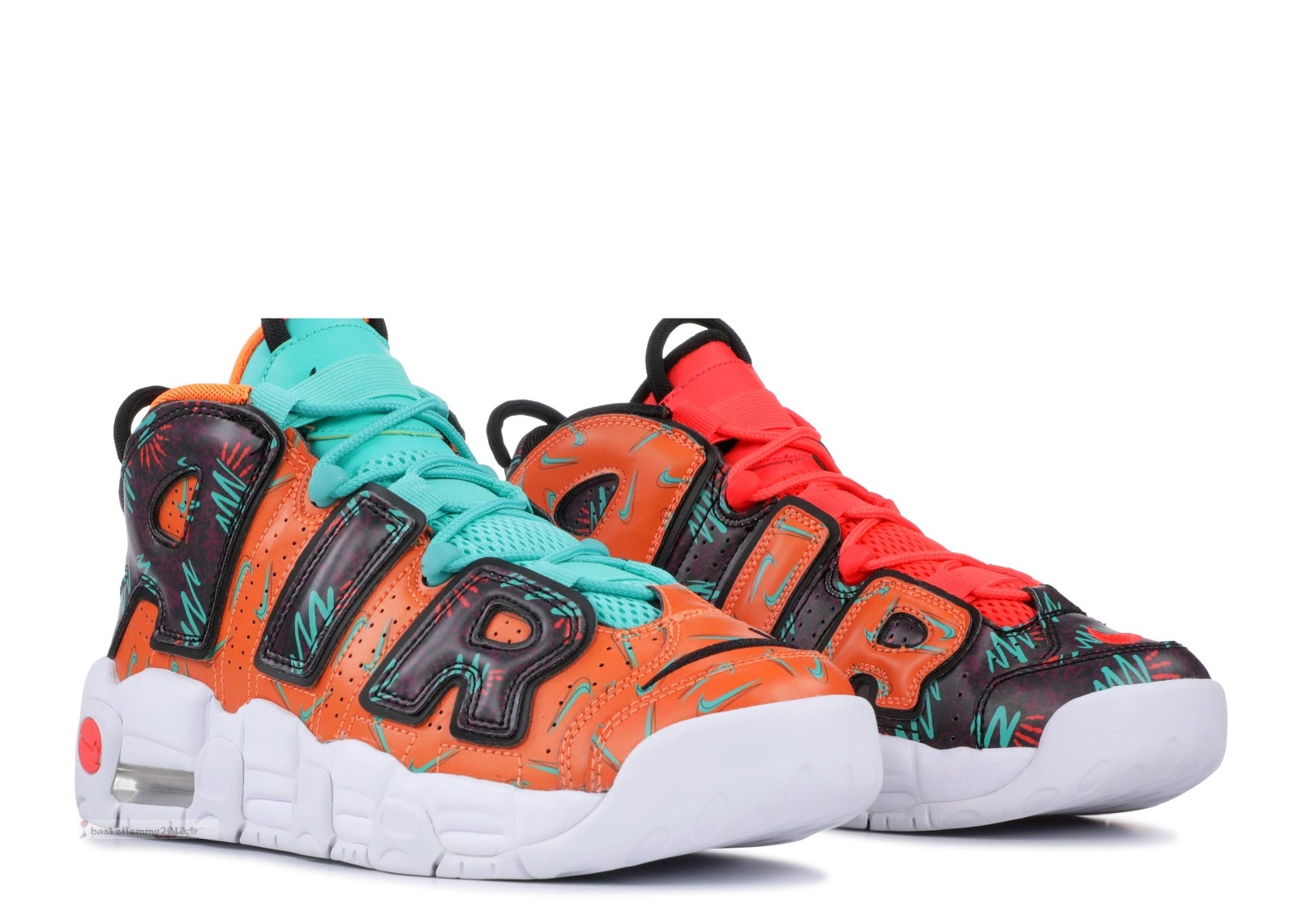 "Nike Air More Uptempo (Gs) ""What The 90S"" Orange Noir (at3408-800) Chaussure de Basket"