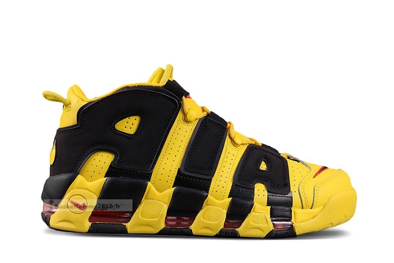 Nike Air More Uptempo Noir Jaune Chaussure de Basket