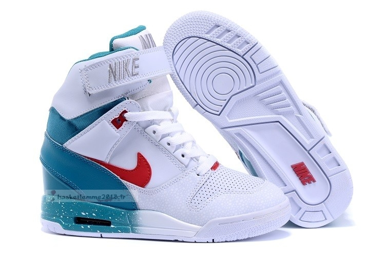 Nike Air Revolution Sky Femme High Wedge Sneakers Blanc Bleu Rouge Chaussure de Basket