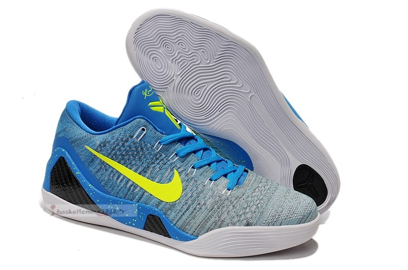 Nike Kobe Ix 9 Elite Low Bleu Jaune Chaussure de Basket