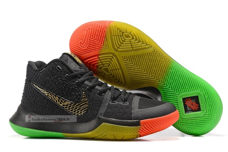 "Nike Kyrie Irving Iii 3 ""Rise And Shine"" Noir Vert Rouge Or Chaussure de Basket"