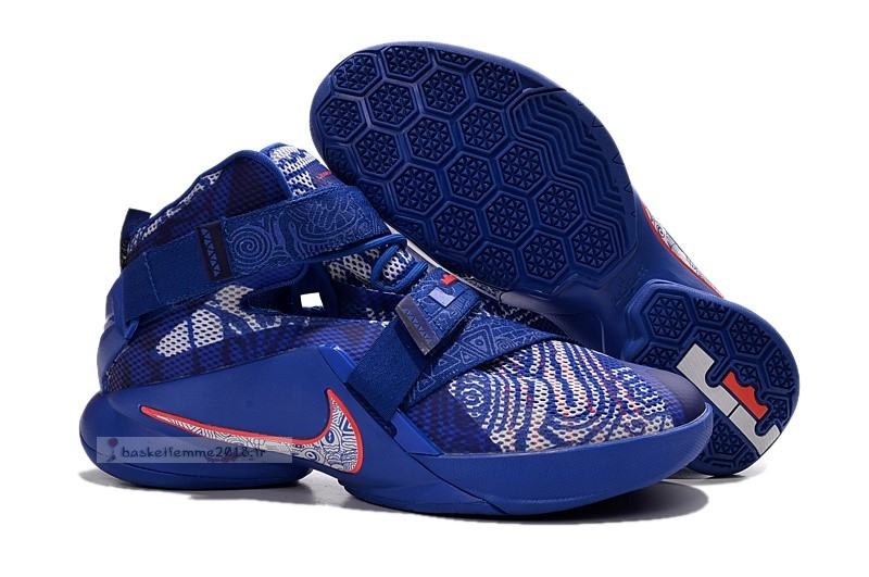 "Nike Lebron Soldier Ix 9 ""Freegums"" Bleu Rouge Chaussure de Basket"