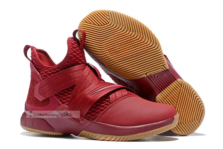 Nike Lebron Soldier Xii 12 Rouge Marron Chaussure de Basket