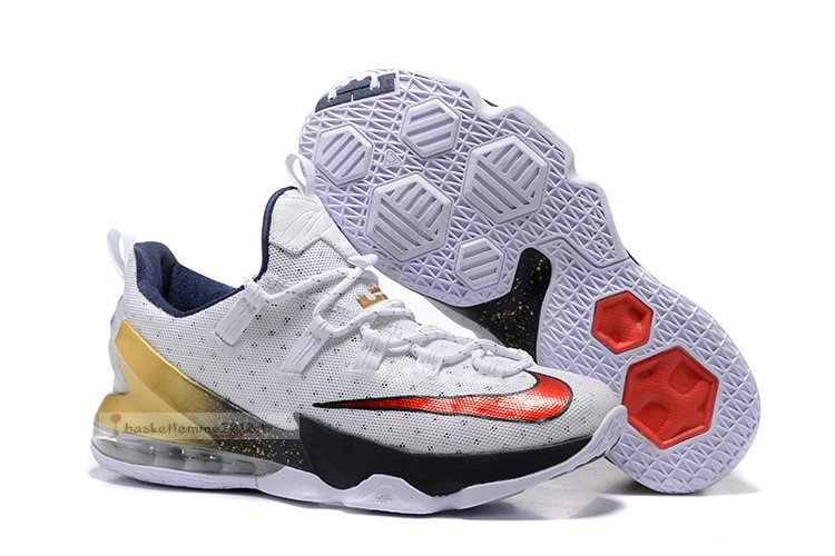 "Nike Lebron Xiii 13 Low ""Olympic"" Blanc Rouge Métallique Or Chaussure de Basket"