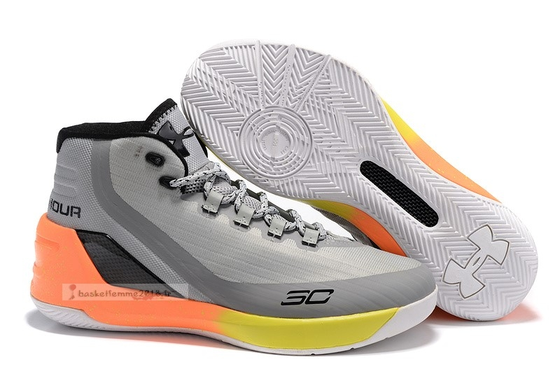 Under Armour Curry 3 Gris Orange Jaune Chaussure de Basket