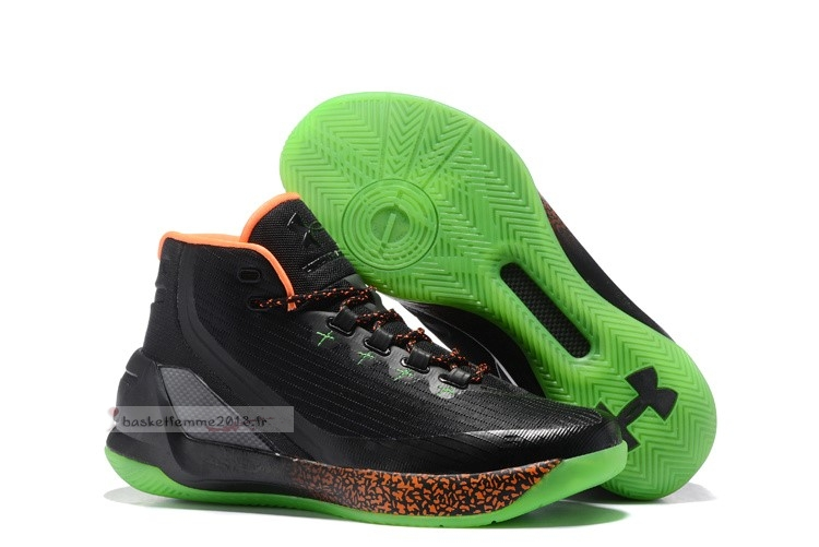 "Under Armour Curry 3 ""Lights Out"" Noir Orange Vert Chaussure de Basket"