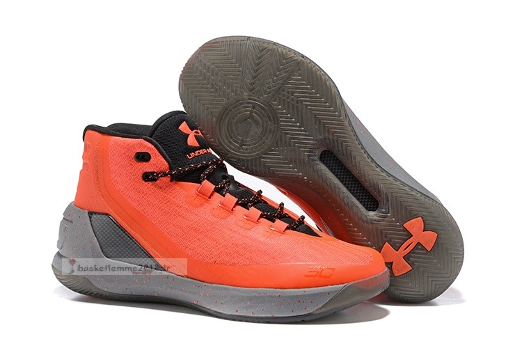 Under Armour Curry 3 Orange Gris Noir Chaussure de Basket