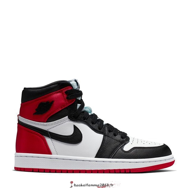 "Air Jordan 1 Femme ""Satin Black Toe"" Noir Rouge Blanc (CD0461-016) Chaussure de Basket"