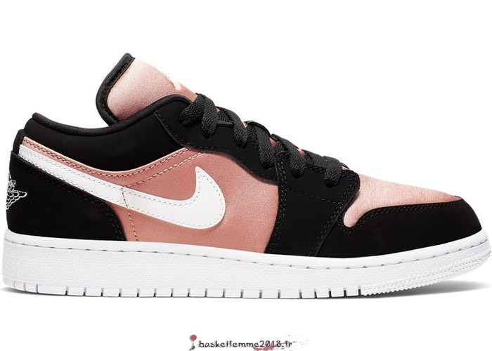Air Jordan 1 Low (GS) Noir Blanc Rose Or (554723-090) Chaussure de Basket
