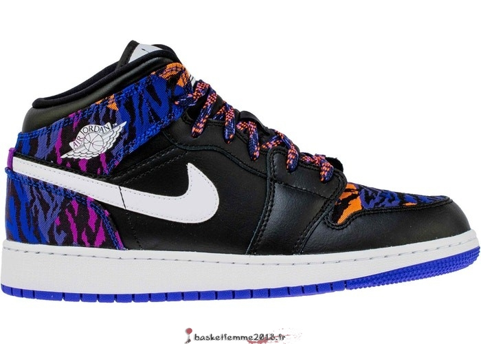 "Air Jordan 1 Mid (GS) ""Multi Color Tiger Stripe"" Noir (AV5174-005) Chaussure de Basket"