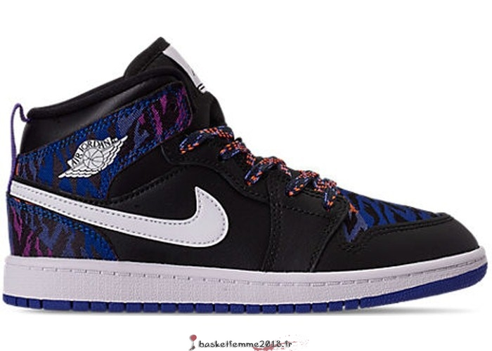 "Air Jordan 1 Mid (PS) ""Multi Color Tiger Stripe"" Noir (AV5173-005) Chaussure de Basket"