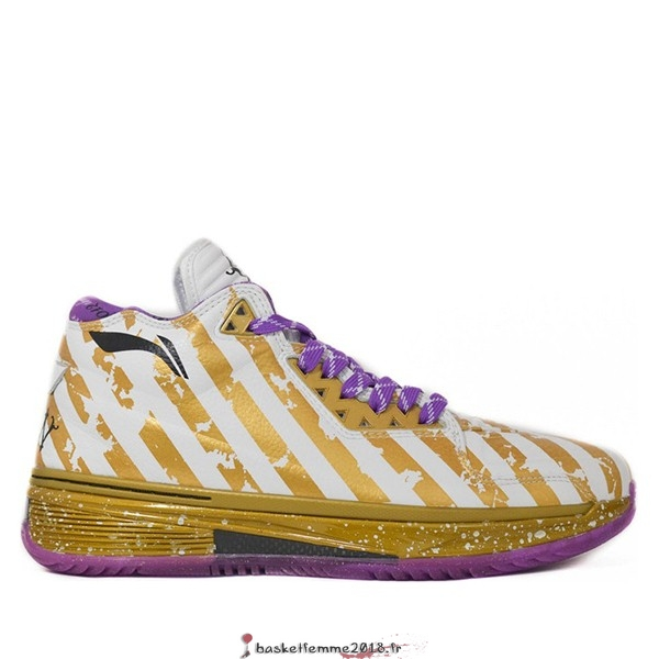 "Li Ning Way Of Wade 2 Homme ""Dynasty"" Blanc Or Pourpre (ABAH017-7) Chaussure de Basket"