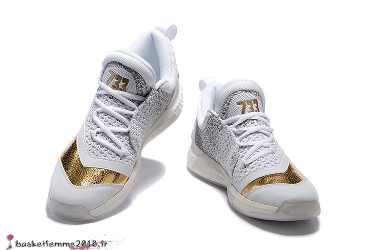 Adidas Crazylight James Harden Homme Blanc Gris Or Chaussure de Basket