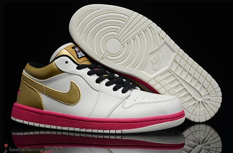 Air Jordan 1 Homme Blanc Or Rose Chaussure de Basket