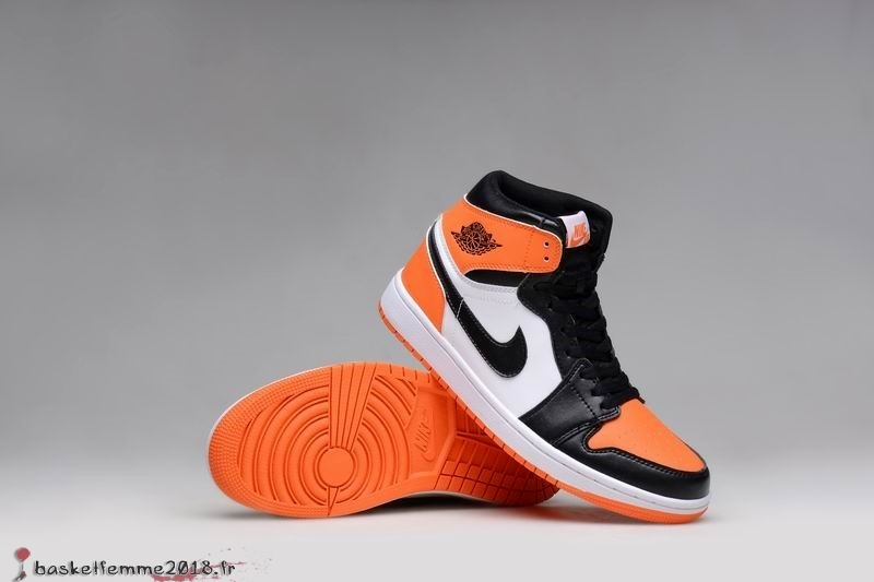 Air Jordan 1 Homme Orange Blanc Noir Chaussure de Basket