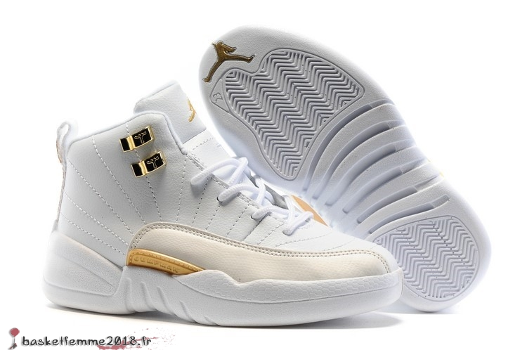 Air Jordan 12 Enfant Blanc Or Chaussure de Basket