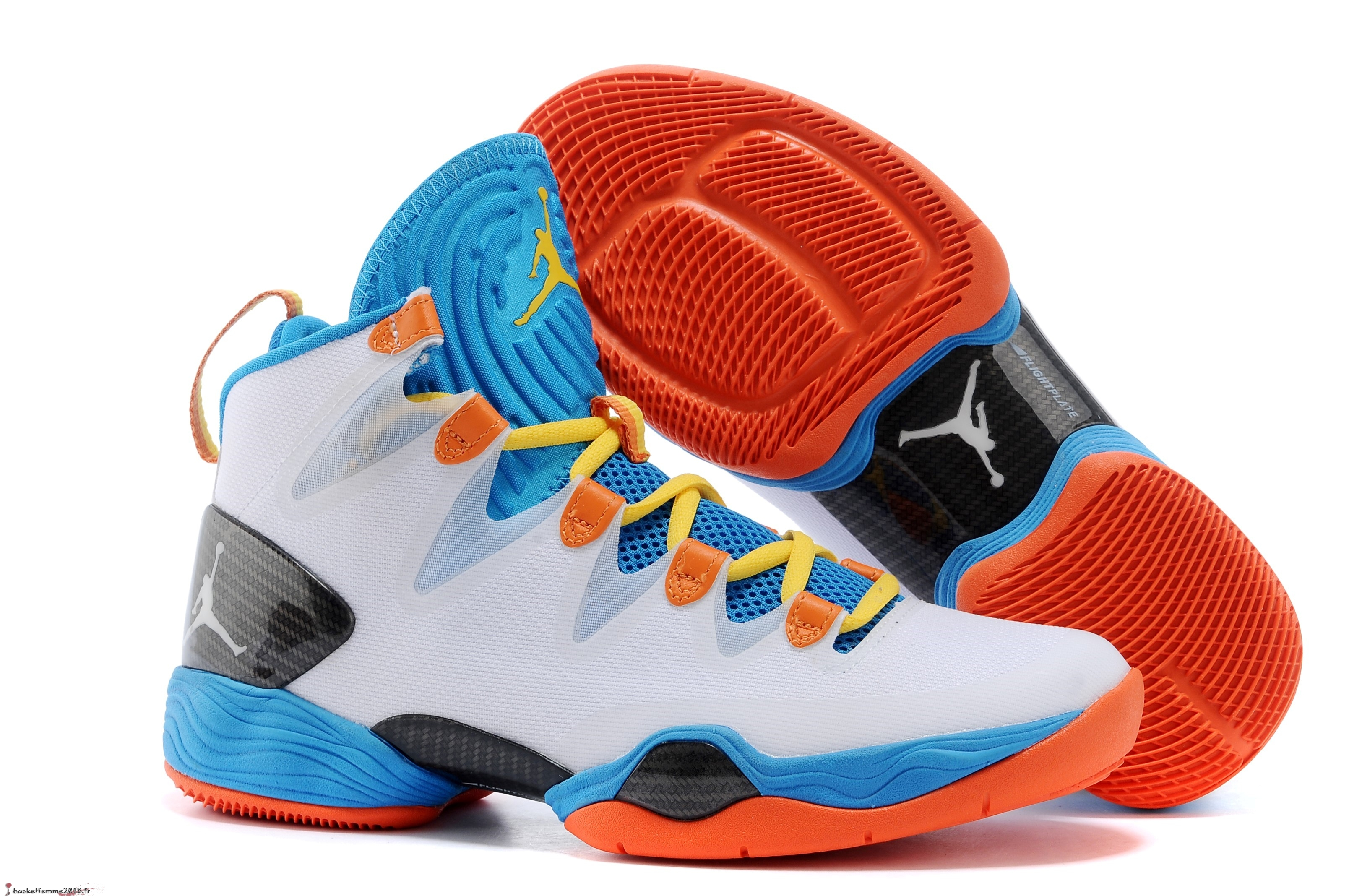 Air Jordan 28 Homme Blanc Bleu Orange Chaussure de Basket