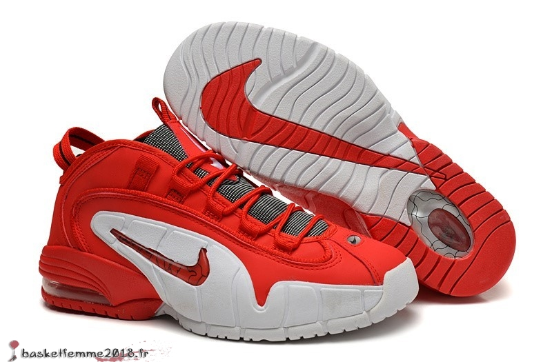 Nike Air Penny Homme Rouge Blanc Chaussure de Basket