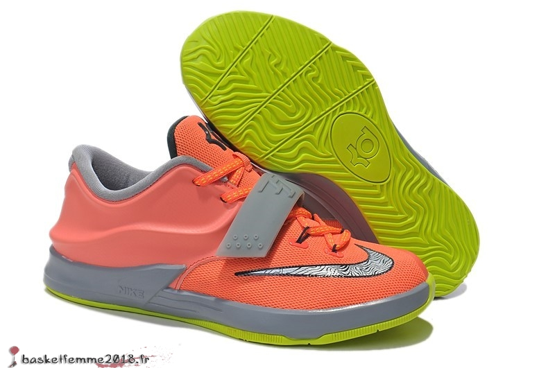 Nike KD 7 Enfant Orange Gris Chaussure de Basket