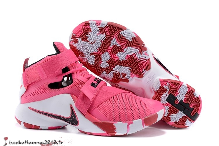 Nike LeBron Soldier 9 Homme Rose Chaussure de Basket