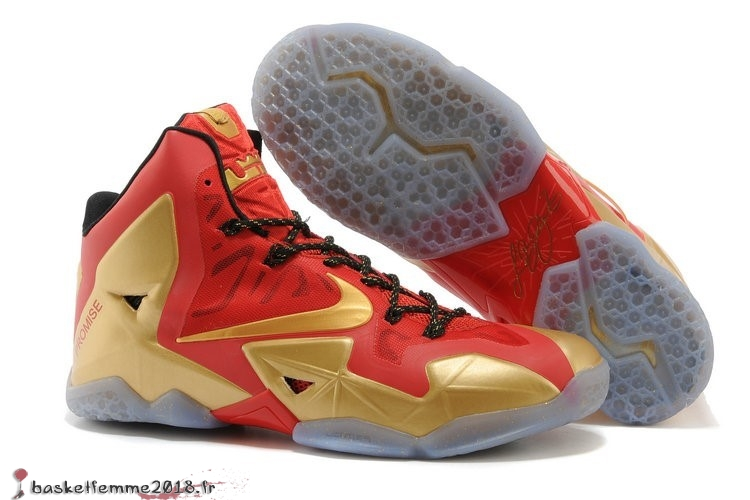 Nike Lebron 11 Homme Rouge Or Chaussure de Basket