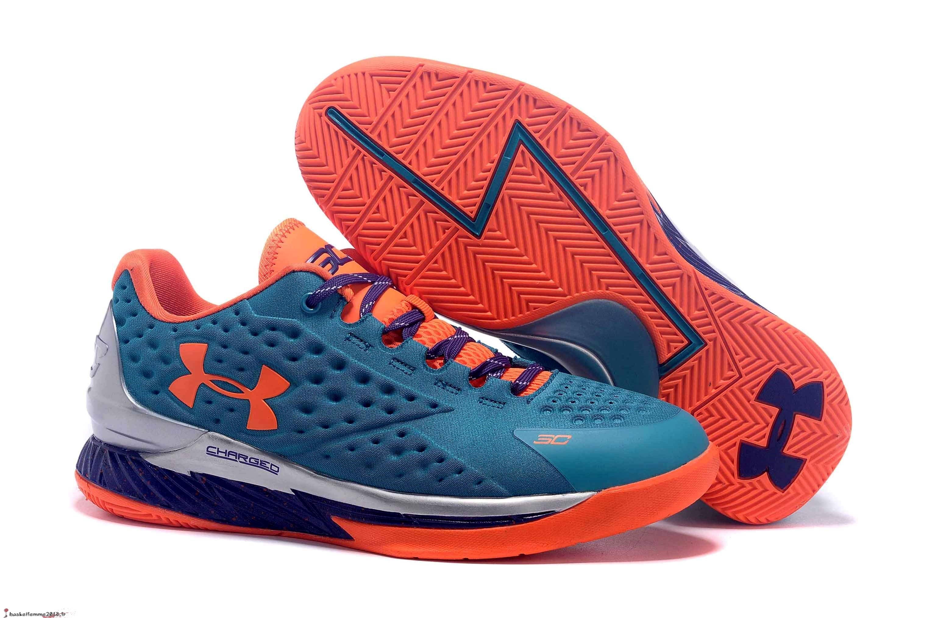 Stephen Curry 1 Femme Bleu Orange Chaussure de Basket