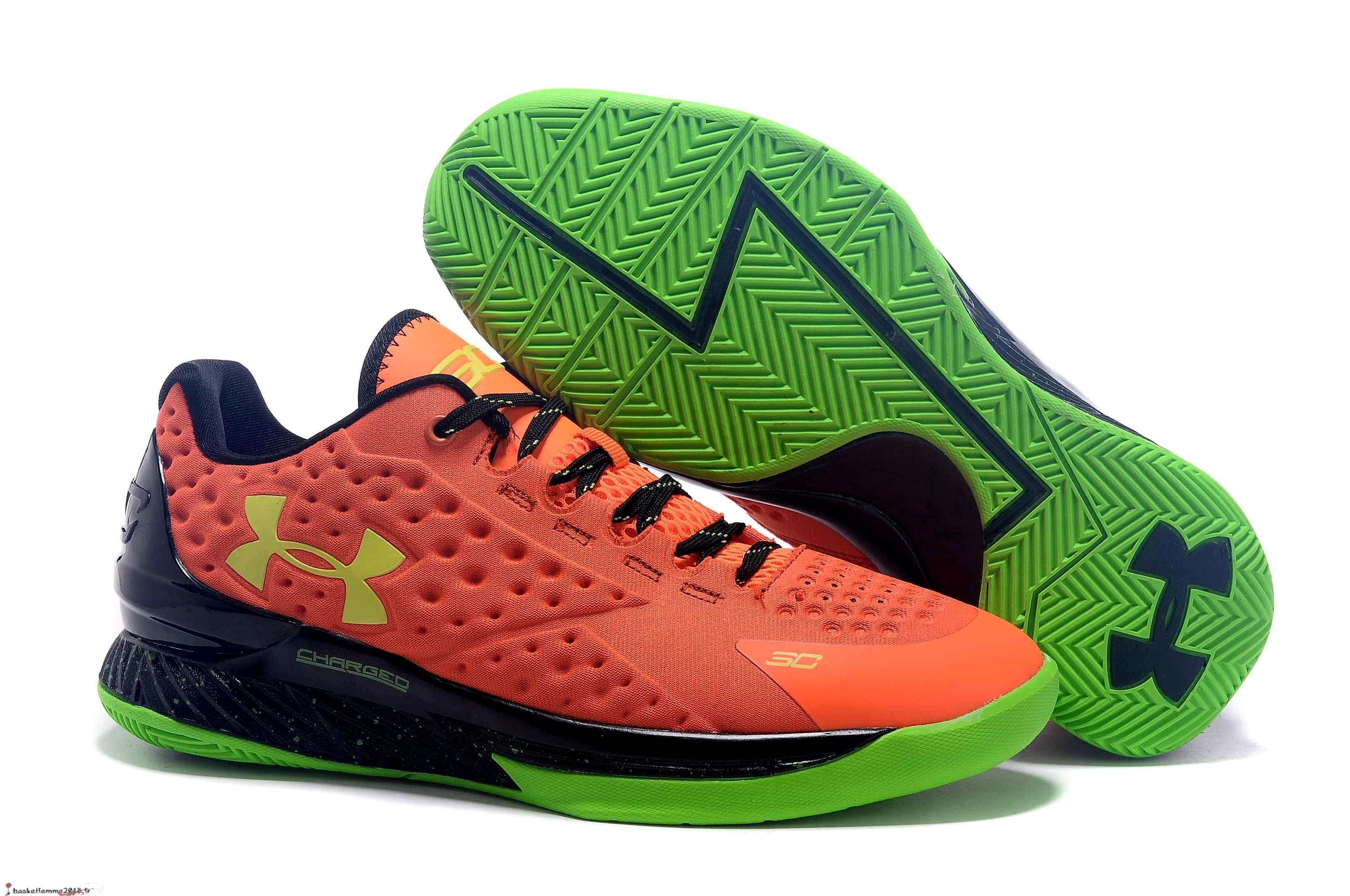 Stephen Curry 1 Femme Orange Vert Chaussure de Basket